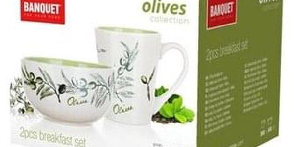 BANQUET OLIVES Sada snídaňová - hrnek a miska 2 ks 60HH1433OL2