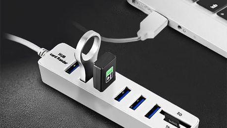 USB hub a čtečka paměťových karet - 2v1