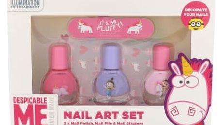 Minions Unicorns dárková kazeta lak na nehty 3 x 4 ml + pilník 1 ks + samolepky na nehty