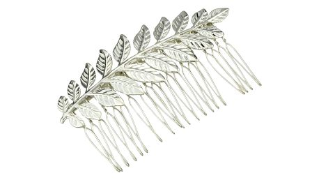 Hřebínek do vlasů s lístečky - zlatá / stříbrná barva