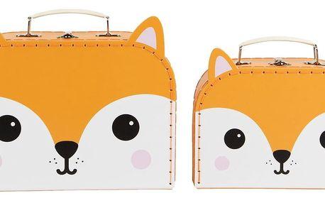 sass & belle Kufřík Fox - 2 velikosti Menší, oranžová barva, papír