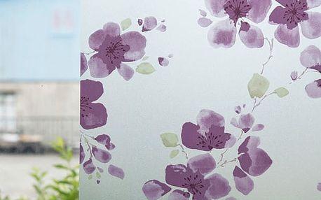 Neprůhledná samolepicí folie s fialovými kvítky
