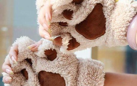 Dámské rukavice ve tvaru kočičích tlapek