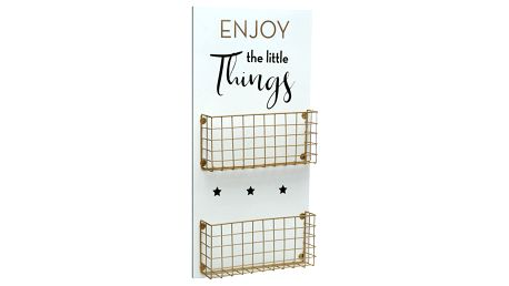Bílé nástěnné úložné koše Versa Enjoy The Little Things