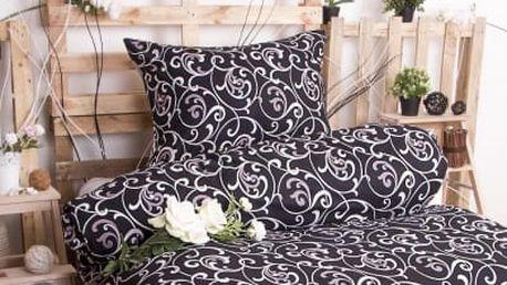 XPOSE ® Bavlněné povlečení na dvě lůžka ELIZABETH - černá 140x200, 70x90
