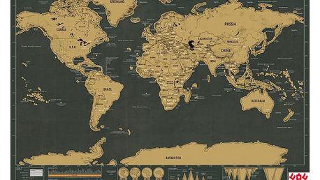 Stírací mapa světa - 42 x 30 cm - dodání do 2 dnů