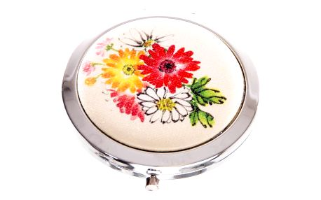 Kapesní kosmetické zrcátko Retro Flowers červené