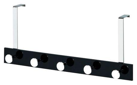 Věšák na dveře - 5 háčků, chrom/černá GC2480-5 BK Artium