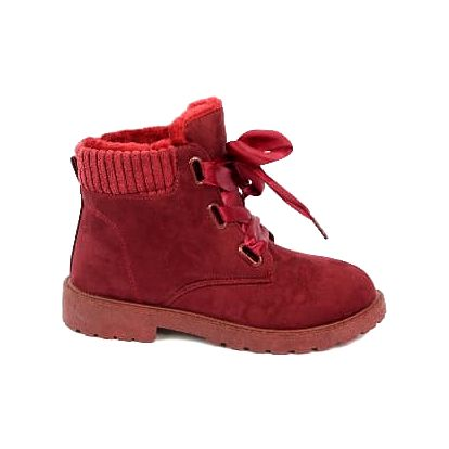 Zateplené dámské kotníčkové boty RIBBON bordó