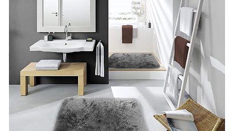 Sametově hebký koberec do koupelny šedý