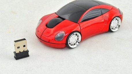 PC myš auto bezdrátová - červená