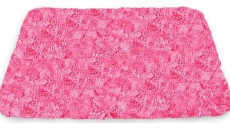 Sametově hebký koberec do koupelny růžový