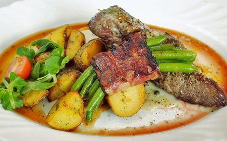 Rump steak propečený dle vaší chuti s přílohou