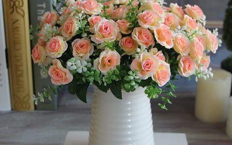 Přirozené umělé růže 15 ks - dodání do 2 dnů