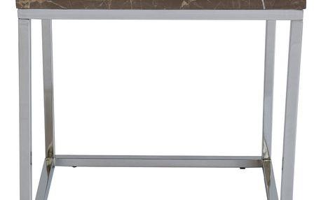 Hnědý mramorový odkládací stolek s chromovaným podnožím RGE Accent, šířka50cm - doprava zdarma!