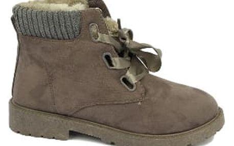 Zateplené dámské kotníčkové boty RIBBON šedé