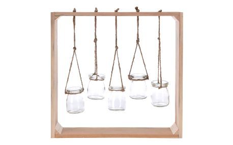 Dřevěný rám se sklenicemi, 38 x 38 cm