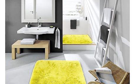 Sametově hebký koberec do koupelny žlutý