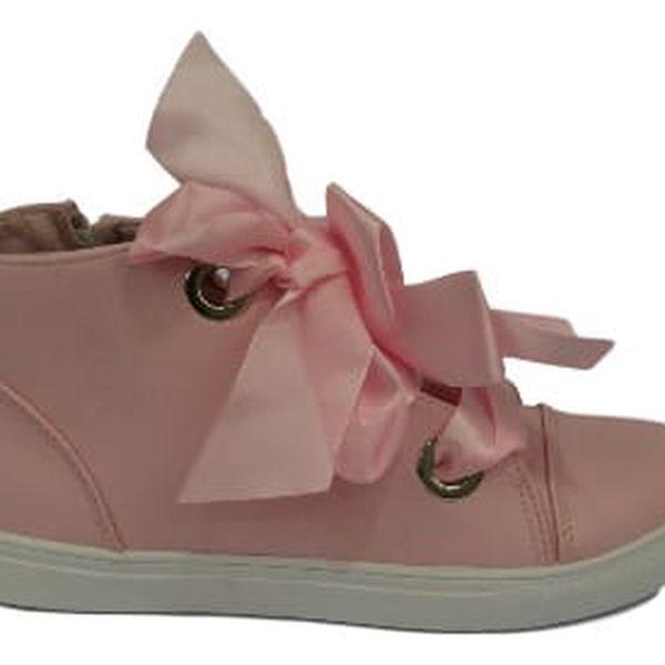 Dámské kotníkové boty RIBBON z ekokůže růžové