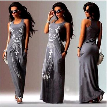 Maxi šaty s potiskem kočky - 3 barvy