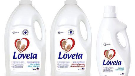 LOVELA Bílá prací gel 4,7 L (50 dávek) + LOVELA Color prací gel 4,7 L (50 dávek) + Lovela Aviváž 2 L