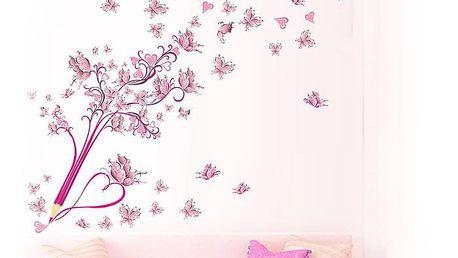 Růžová pastelka s motýlky 105 x 88 cm