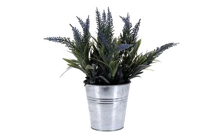 Umělá květina v plechovém květináči fialová světle fialová, 21 cm
