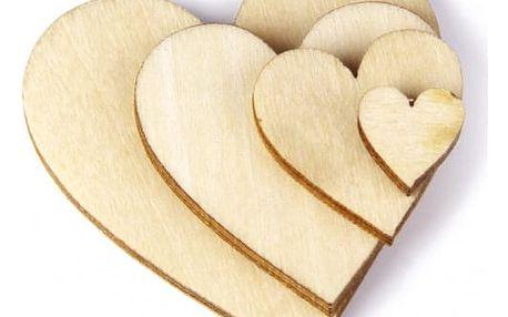 Dřevěná srdíčka - 100 ks