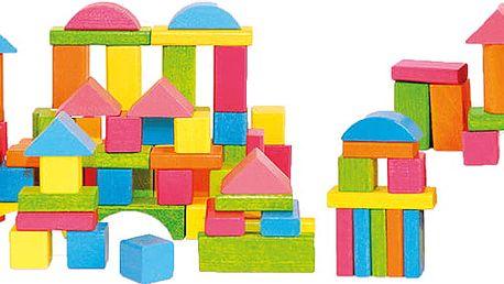 WOODY Stavebnice kostky barevné pastelové, 75 dílů