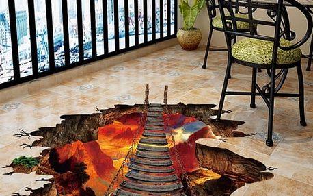 3D samolepka na podlahu - Most nad lávovou propastí