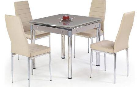 Skleněný jídelní rozkládací stůl Kent - chromovaná ocel béžová