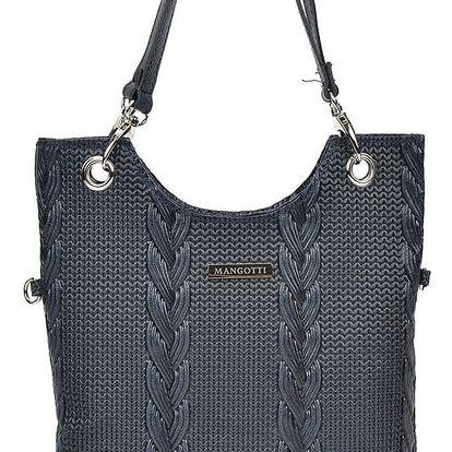 Tmavě modrá kožená kabelka Mangotti Nella