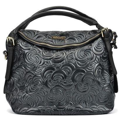 Černá kožená kabelka Mangotti Tanya - doprava zdarma!