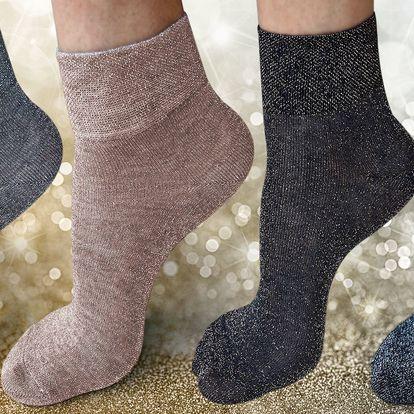 4 páry dámských třpytivých ponožek