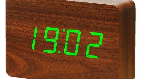Tmavě hnědý budík se zeleným LED displejem Gingko Brick Click Clock - doprava zdarma!