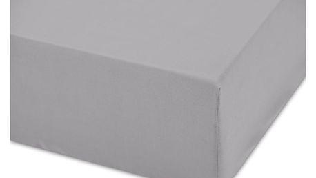 Tmavě šedé bavlněné elastické prostěradlo Boheme Basic, šířka160cm