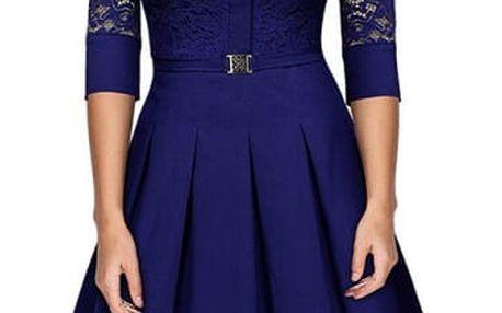 Dámské šaty s krajkou a límečkem - 4 barvy