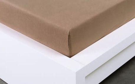XPOSE ® Bambusové jersey prostěradlo dvoulůžko - hnědá 180x200 cm
