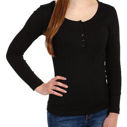 Dámské žebrované tričko s kapucí černá