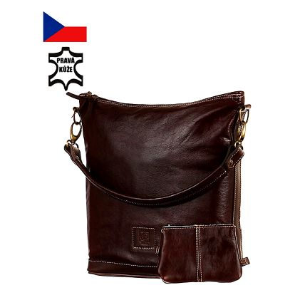 Velká kabelka z pravé kůže - Česká výroba tmavě hnědá