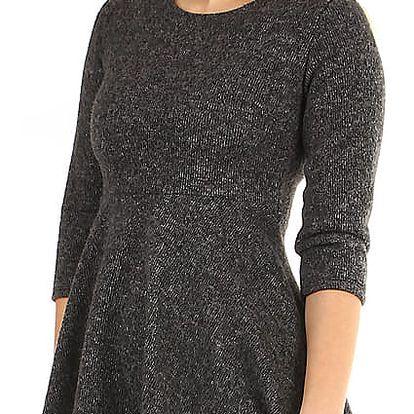 Úpletové zimní šaty áčkového střihu tmavě šedá