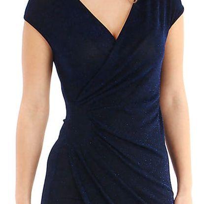 Třpytivé šaty se zavinovacím efektem tmavě modrá