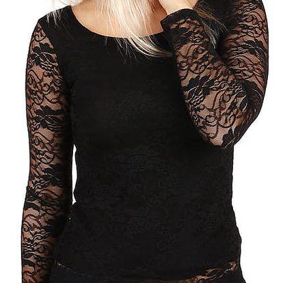 Dámské romantické krajkové tričko černá