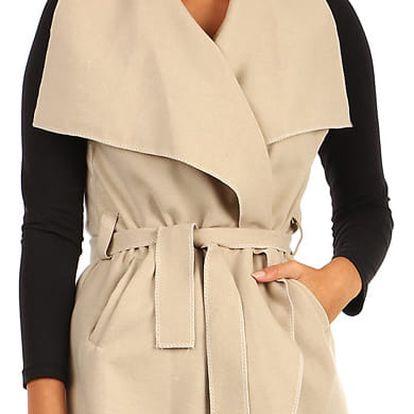 Dámská vesta se širokým límcem a páskem béžová