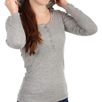 Dámské žebrované tričko s kapucí šedá