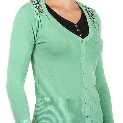 Elegantní svetřík s krajkovou vsadkou zelená
