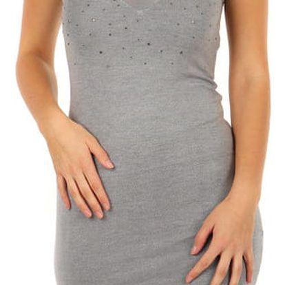 Úpletové mini šaty s průsvitnou vrchní částí šedá