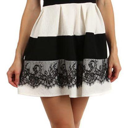 Elegantní dvoubarevné šaty s krajkou bílá