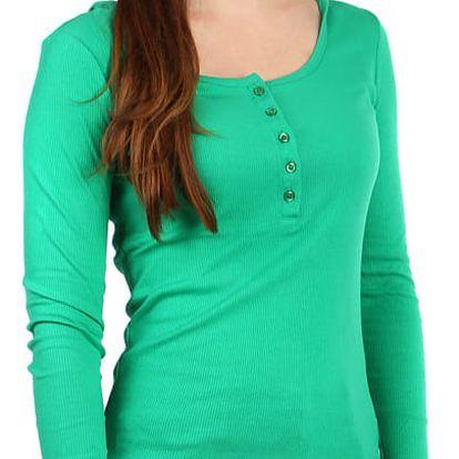 Dámské žebrované tričko s kapucí zelená