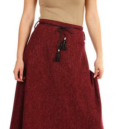 Dlouhá dámská úpletová sukně vínová